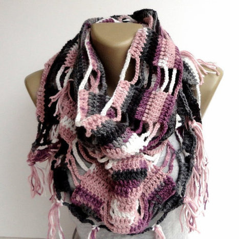 fashion scarf ,crocheted shawl ,women trend scarf ,winter spring trends ,crochetted scarf,colorful pink gray black white | scarf | Scoop.it