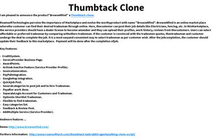 'Thumbtack Clone' by Roamsoft   Roamsoft Technologies Pvt Ltd   Scoop.it