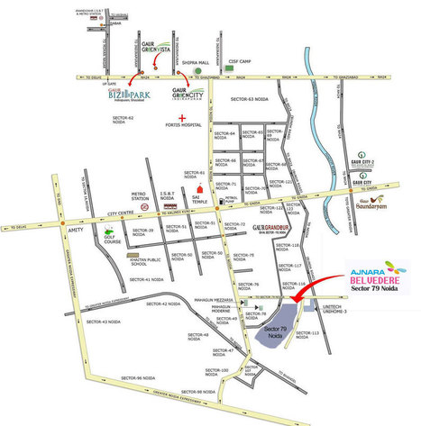 Location Map of Ajnara Belvedere in Sector 79 Noida | Real Estate-Residential and Commercial Property | Scoop.it