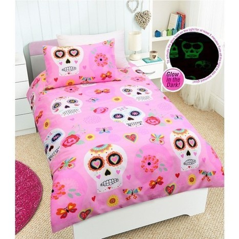 Glow in the dark Candy Skulls Quilt Cover Set by Happy Kids - Manchester House | Soft Furnishings | Scoop.it