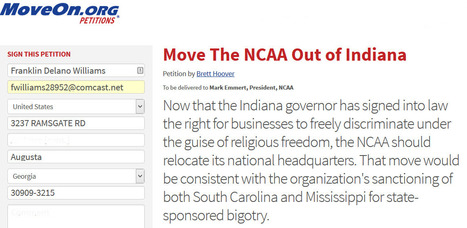"""Sign the petition: """"Move The NCAA Out of Indiana"""" 