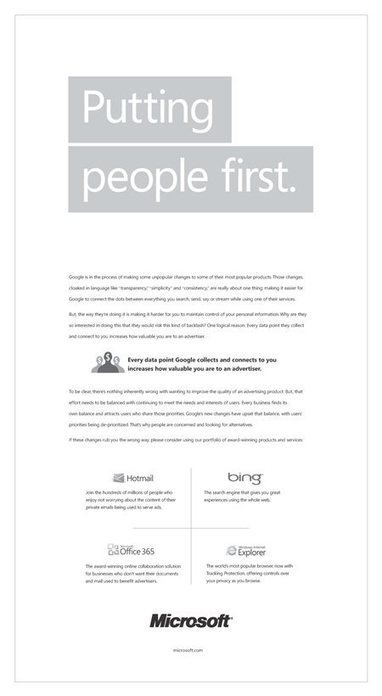Vie privée : Microsoft lance une campagne publicitaire pour critiquer la politique de confidentialité de Google, qui réplique | Je suis Community Manager | Scoop.it