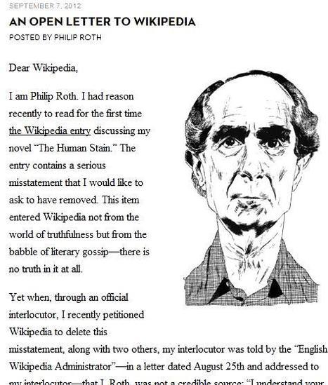 TOUTE UNE HISTOIRE – Quand Wikipédia empêche l'écrivain Philip Roth de corriger sa propre page   Travail C2i Wikipedia   Scoop.it