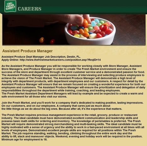 Assistant Produce Dept Manager Jobs in Destin, FL | Employer Direct Hire Employment Opportunities | Scoop.it