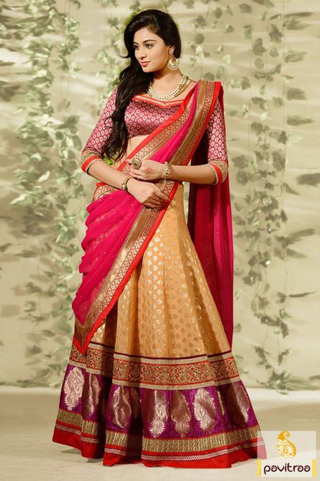 Beige Pink Red Designer Lehenga Choli   Pavitraa   Scoop.it