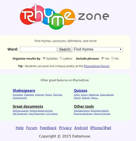 RhymeZone rhyming dictionary and thesaurus | Poems | Technology in teaching English | Scoop.it