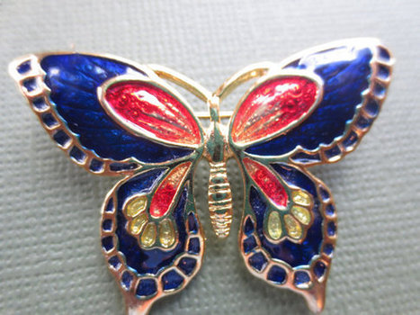 Vintage Cloisonne butterfly pin. Retro. 1970s. | vintage jewelry | Scoop.it