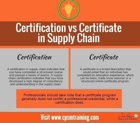 What's the Difference between a Certificate in Supply Chain vs Certification in Supply Chain — cpsm certification | Supply Management | Scoop.it