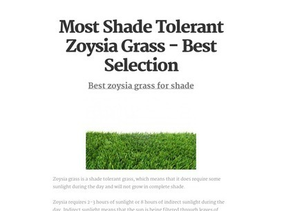 Most Shade Tolerant Zoysia Grass - Best Selection | Zoysia Grass Plugs Review | Scoop.it