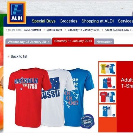 Aldi recalls 'racist' Australia Day shirt after social media outcry | Selling Australia Day | Scoop.it