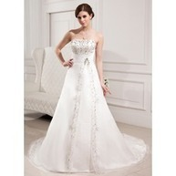[US$ 231.99] A-Line/Princess Sweetheart Chapel Train Organza Satin Wedding Dress With Embroidery Beading (002000305)   fantastic dresses   Scoop.it