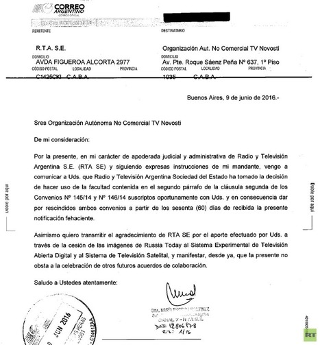 Argentina to suspend RT from national broadcasting | Saif al Islam | Scoop.it