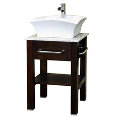 """Shop Bellaterra Home Bellaterra 24.2-in x 20.25-in Medium Walnut 1 Bathroom Vanity"""" with Natural Marble Top at Lowes.com 