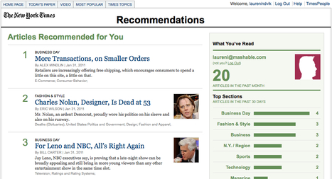 """""""New York Times"""" Quietly Rolls Out Recommendations Service   Brand & Content Curation   Scoop.it"""