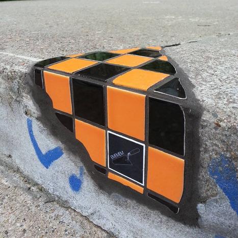 Ememem Le raccommodeur de bitume lyonnais #streetart #Carrelageextrême #Flaking #Lyon | Street-art Design Grafititi et Gros minet | Scoop.it