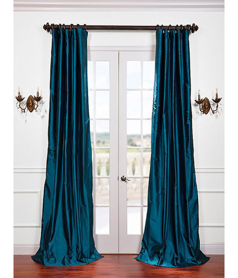 Tahitian Teal Silk Taffeta Curtain | window curtains | Scoop.it