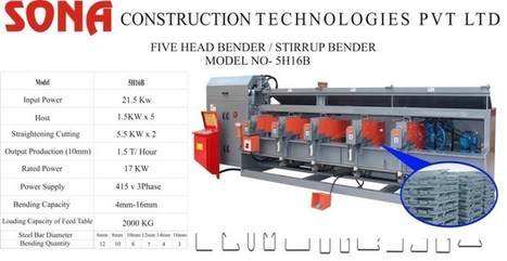 Sona Construction technologies Pvt Ltd. Adds New Machine | Stirrup Bender Machine | Scoop.it
