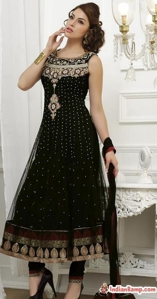 Black Net Embroidered Kalidaar Churidar Suit for Girls, Party Wear Collection | Indian Ramp - Indian Fashion, Saree, Salwar Kameez, Mehendi Designs | Indian Fashion Updates | Scoop.it