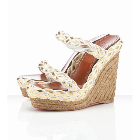 Christian Louboutin Cadena Tresse 140mm Wedges Ivory | new and share style | Scoop.it