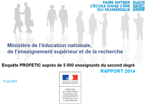 Enquête PROFETIC - PROFETIC 2014 - Éduscol | TICE et FLE | Scoop.it