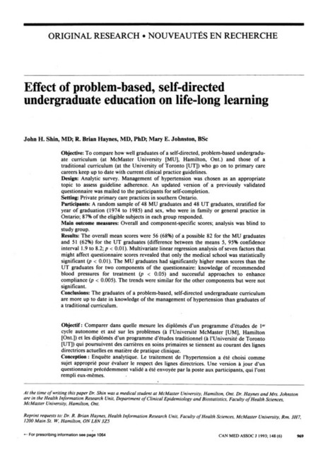 Effect of problem-based, self-directed undergraduate education on life-long learning. | Self-Learning | Scoop.it