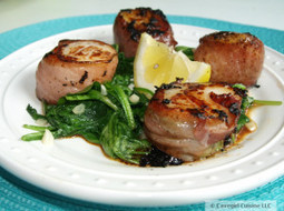 Prosciutto Wrapped Scallops and Garlic Spinach | Cavegirl Cuisine | BEAUTY ART | Scoop.it