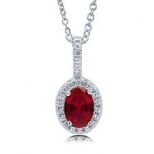 BERRICLE - Oval Cut Ruby Cubic Zirconia 925 Sterling Silver Halo Pendant Necklac | Berricle Necklaces | Scoop.it