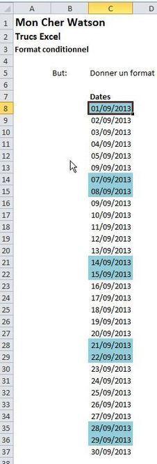 Excel : Utiliser le format conditionnel pour mettre en évidence les journées du week-end | Modélisation financière | Scoop.it