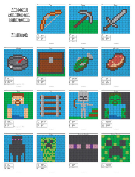 Minecraft Addition and Subtraction | Coloring Squared | Scoop.it