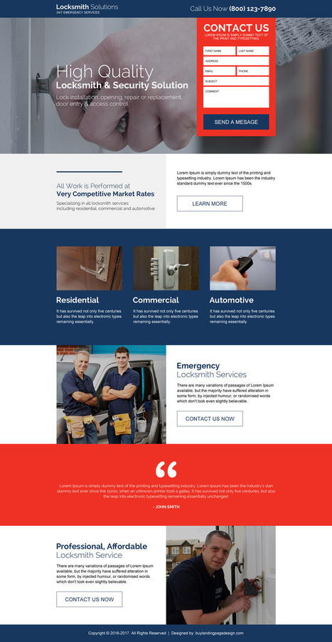 locksmith-and-security-solution-leads-lp-8 | Locksmith Landing Page Design preview. | buy landing page design | Scoop.it