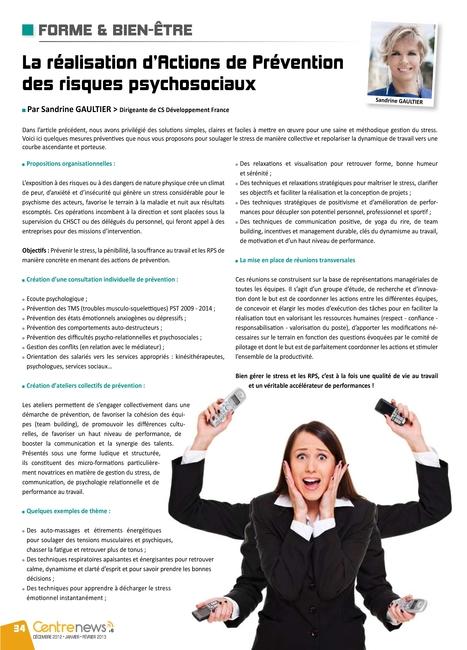 La réalisation d'Actions de Prévention des risques psychosociaux - RPS   ML Coaching   Scoop.it