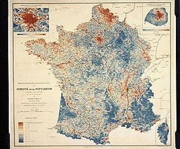 Répartition géographique de la population en France, ou densité de population par commune 1886 | L'écho d'antan | Scoop.it