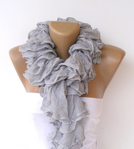 ruffle scarf,knit scarves,New Trend 2013,Cotton scarf,knitting scarf,neckwarmer,fashion,valentines day | Knit Ruffled Scarf,multicolor scarf,2013 NEW TREND SCARF,accessories,gifts for her,fashion,long scarf | Scoop.it