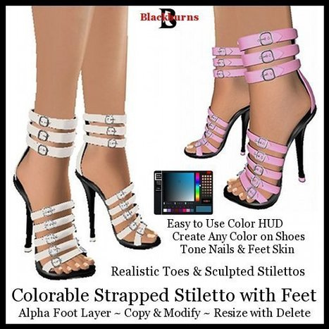 Strapped Colorable Stiletto with Feet by Vlad Blackburn | Teleport Hub - Second Life Freebies | Second Life Freebies | Scoop.it