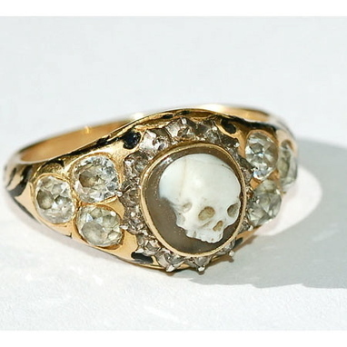 18k gold with a carved agate skull surrounded by rose- and old-cut diamonds and black enamelling, with hallmarks for London 1852 | Antiques & Vintage Collectibles | Scoop.it