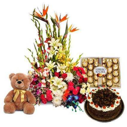 Flowers with Blackforest cake,  Chocolates - Blossom Square | BlossomSquare online flowers delivery system | Scoop.it