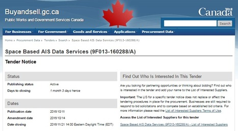 The CDN gov't is looking for Space Based AIS Data Services | More Commercial Space News | Scoop.it