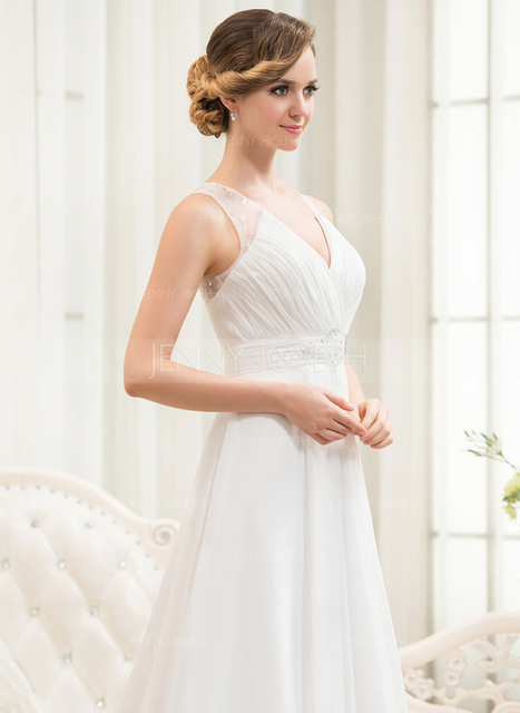 [€ 139.13] A-Line/Principessa Scollatura a V Sweep/Spazzola treno Chiffona Tyll Abito per matrimonio con Perline Paillettes Pieghe/Increspature a cascata (002054621)   wedding dress   Scoop.it