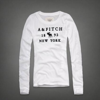 2013 Abercrombie and Fitch Naiset Pitkähihainen pyöreä kaula-aukkoinen t-paita F022 Valkoinen Joulumyyjäiset | holliter world | Scoop.it