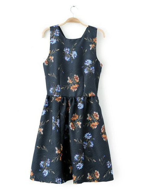 Navy Round Neck Floral Cotton Blends Pleated Dress : Lamistore.com | Lamistore Fashion Prom Dresses | Scoop.it