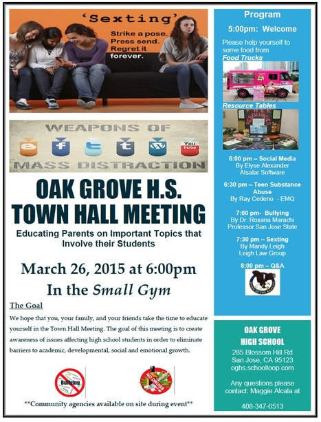 Oak Grove High School Town Hall Meeting // Thursday March 26th 6:00-8:30pm | Santa Clara County Events and Resources to Support Youth Development | Scoop.it