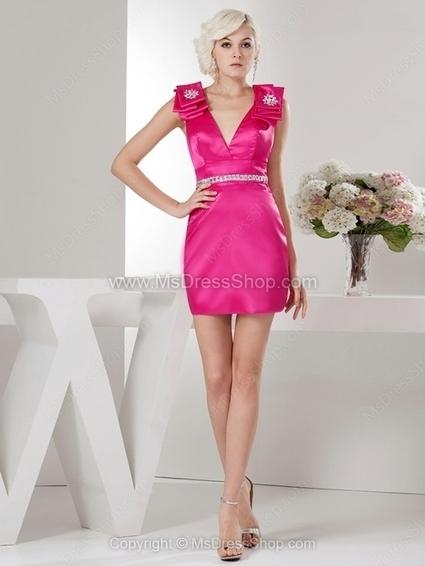 Sheath/Column V-neck Satin Short/Mini Rhinestone Cocktail Dresses | Cocktail dresses online | Scoop.it