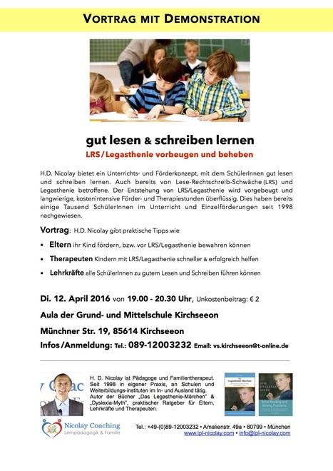 Vortrag-Kirchseeon, gut lesen & schreiben am 12.4.16 | Reading & Writing Challenges and Dyslexia | Scoop.it