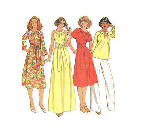 Retro Boho Hippie Style Maxi Midi Dress McCall's 6012 Sewing Pattern 70s Disco Fashion Keyhole Neck Halter Raglan Sleeves Bust 36 | Vintage Sewing Patterns | Scoop.it