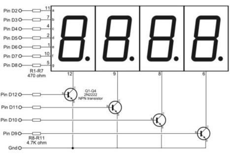 4-Digit 7-segment LED Display Arduino Demo   learn.parallax.com   Arduino in the Classroom   Scoop.it