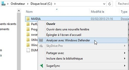 "Ajouter ""Analyser avec Windows Defender"" sur le menu clic droit de Windows 8 