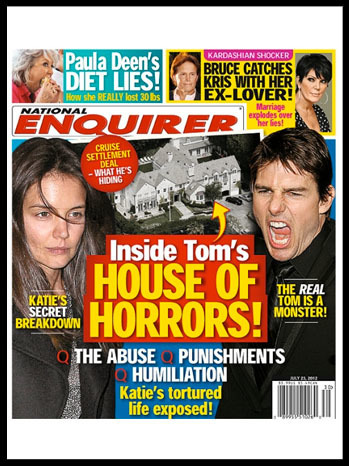 Tom Cruise Lawyer Threatens National Enquirer Over 'House of Horrors' Cover Story | The Billy Pulpit | Scoop.it