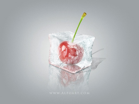 Ice cube 3D photoshop tools tutorial. 3D scene ice cube and cherry inside, ice texture effect in photoshop, ice reflection, 3D rendering, 3D light effects, realistic ice effectt, winter ideas | Photoshop Tutoriels | Scoop.it