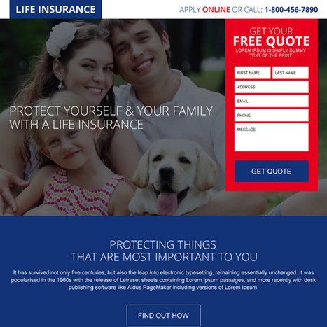 free quote lead capturing landing page design for life insurance | converting and effective landing page designs | Scoop.it