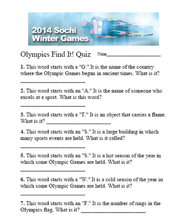Olympic Quiz | Digital Downloads | Scoop.it